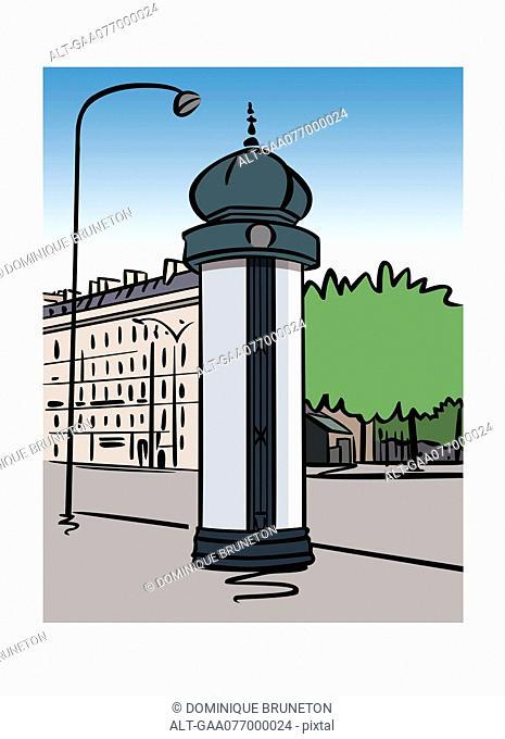 Illustration of a Morris column in Paris, France
