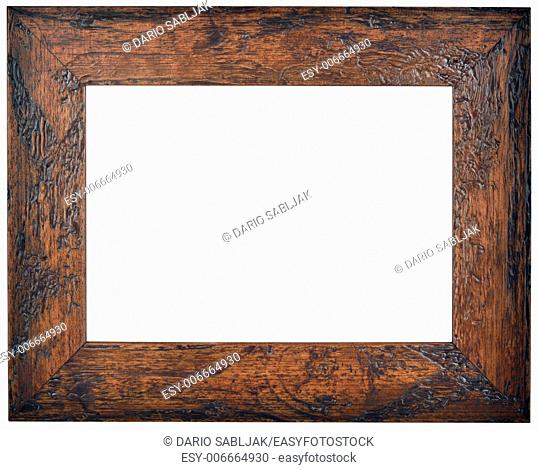 Empty Brown Wooden Picture Frame Isolated With Clipping Path
