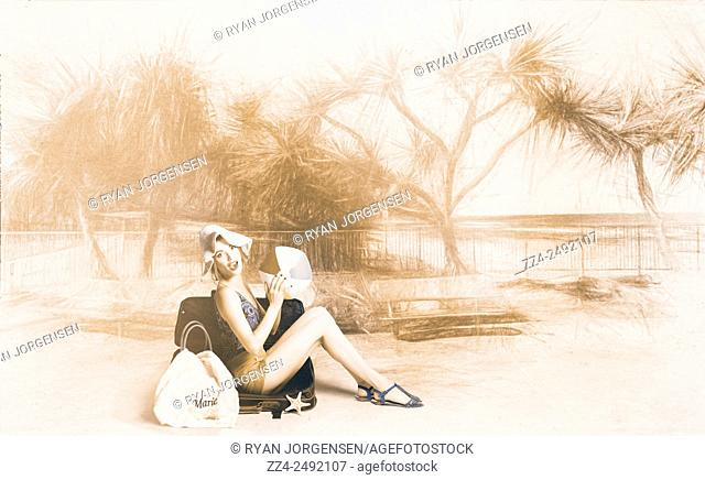Horizontal digital artwork of a bikini pin-up girl with beach ball sitting poolside at a vintage beach resort. Fine art pinups