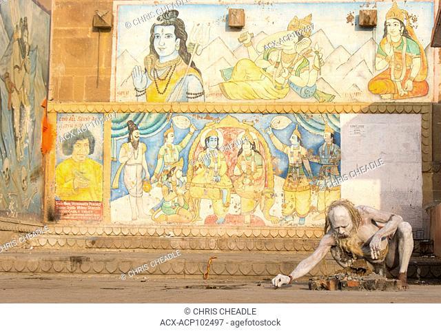 Sadhu at Varanasi, formerly Benares, Uttar Pradesh, India