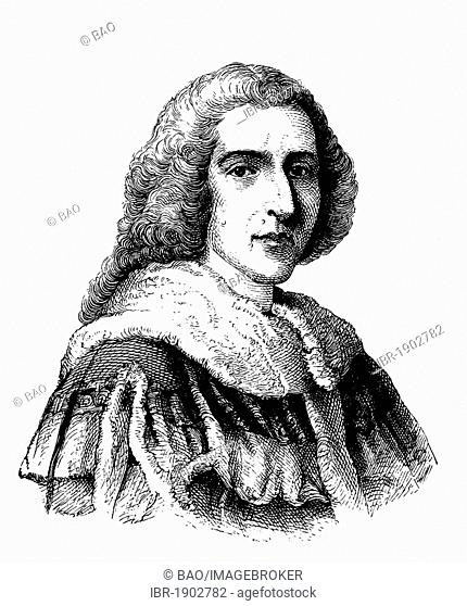 William Pitt, Earl of Chatham, 1708 - 1778, Prime Minister of Great Britain, historical woodcut, circa 1880