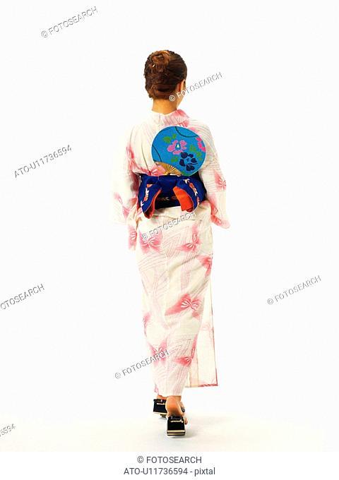 A woman in yukata, Rear View