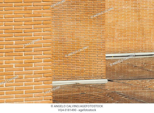 Perspective of brick walls inside Auditorium, Rome, Italy, Europe