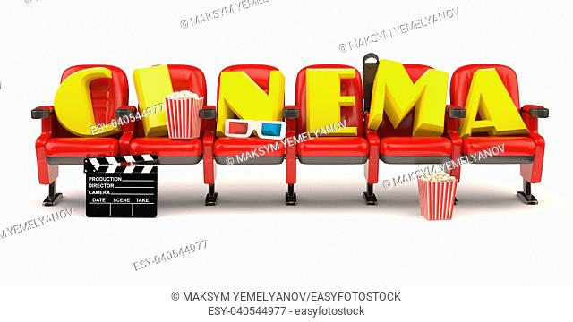 Cinema, movie or video concept. Row of seats with popcorm, glasses and clapper board isolated on white. 3d