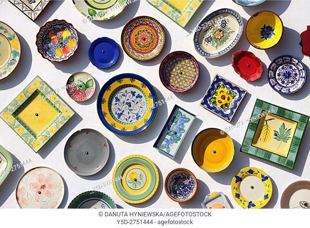 Algarvian souvenir pottery, emblem of Algarve, Portugal, Europe