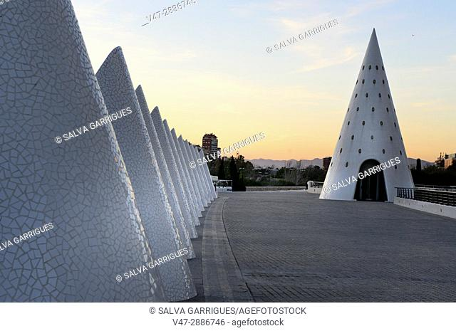 Cones of trencadis on the promenade of the city of arts and sciences, Valencia, Spain