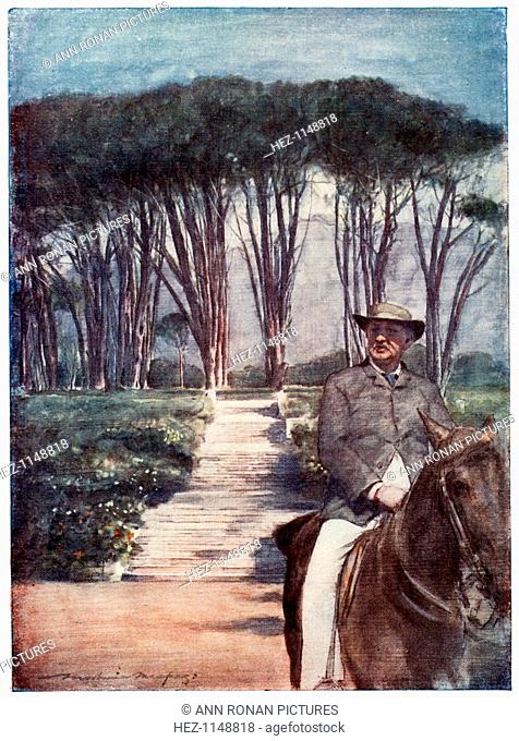 Cecil Rhodes, English-born South African entrepreneur and statesman, c1900. Portrayed in this painting riding on his estate, Groote Schuur