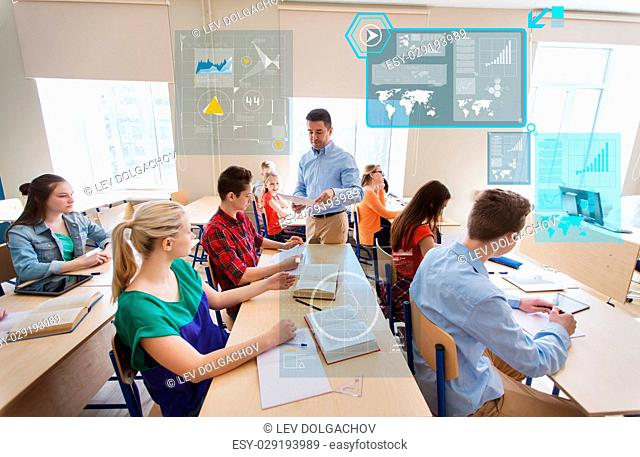 education, school, learning, statistics and people concept - group of students and teacher with test results in classroom over virtual screens with charts