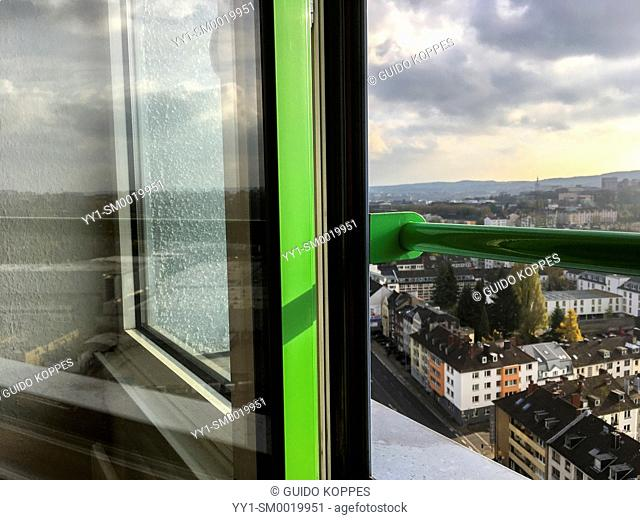 Aachen, Germany. View on the city from a dormatory's 16th floor