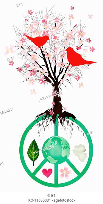Blossom tree growing from peace symbol with globe