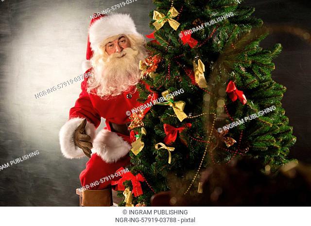 Santa Claus standing near Christmas tree in dark room and looking at camera