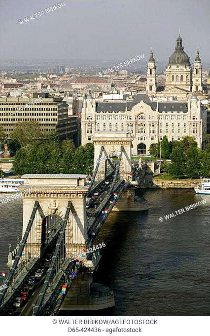 Castle Hill View of Danube River, Szechenyi (Chain) Bridge & St. Stephen's Basilica. Buda. Budapest. Hungary. 2004