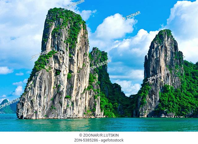 Scenic view of mountain island in Halong Bay