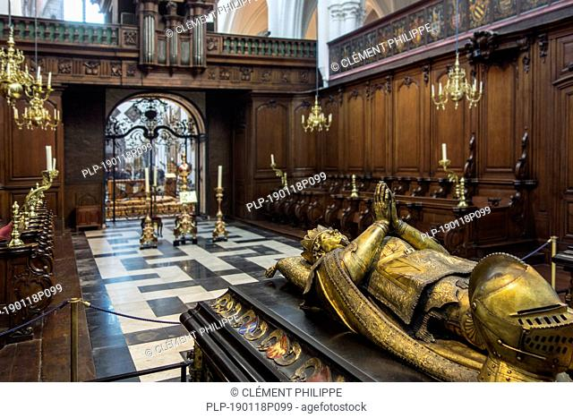 Tomb of Charles the Bold and choir in the Church of Our Lady / Onze-Lieve-Vrouwekerk in the city Bruges, West Flanders, Belgium