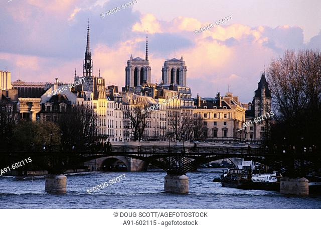 Notre Dame and Seine River. Paris. France