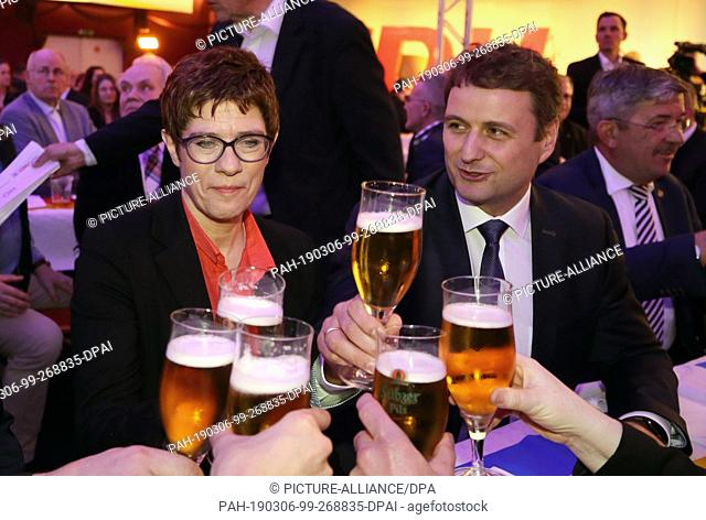 06 March 2019, Mecklenburg-Western Pomerania, Demmin: Annegret Kramp-Karrenbauer, CDU federal chairman, and Vincent Kokert