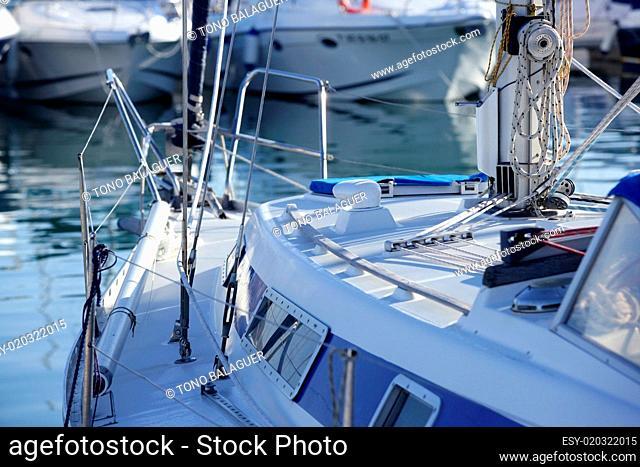 Boats details on mediterranean marina