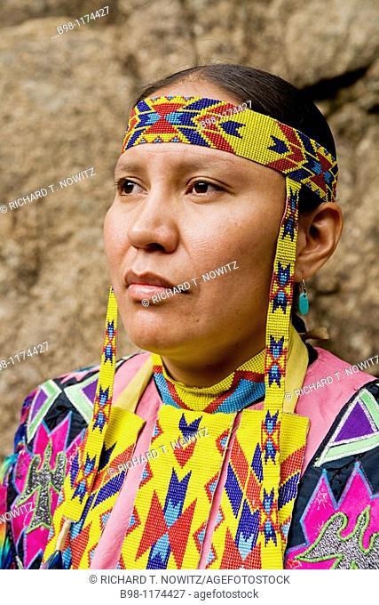 Female Cheyenne, Native American dancer in ceremonial clothing, Colorado Springs