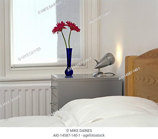 Modern, bedroom, detail, pine bed, filing cabinet drawer unit, Interiors, bedrooms, beds