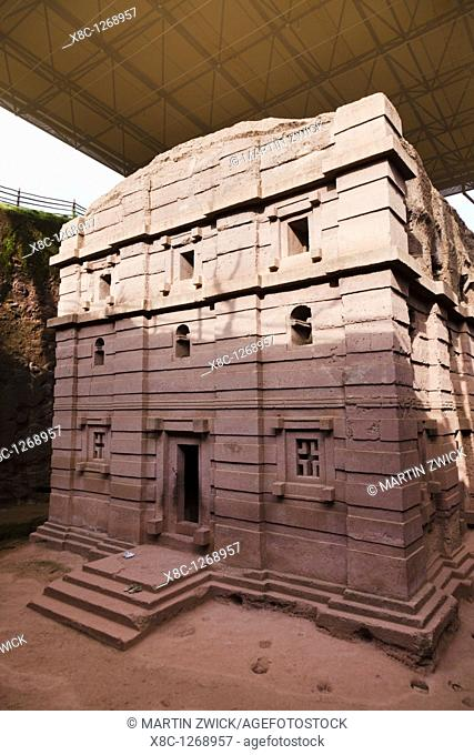 The rock-hewn churches of Lalibela in Ethiopia  The church Bet Amanuel, buildt in the ethiopian - axumite style, exterior  As a protection most of the churches...