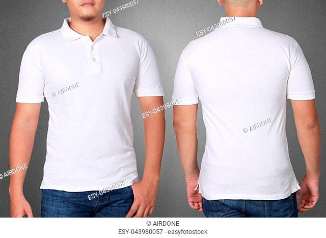 White polo t-shirt mock up, front and back view. Male model wear plain white shirt mockup. Polo shirt design template. Blank tees for print