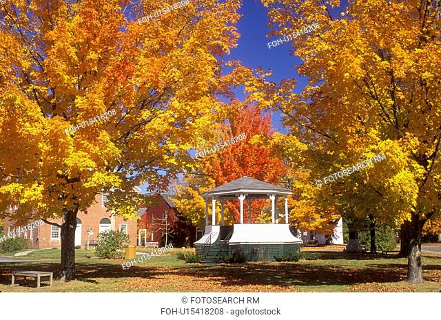 gazebo, Hancock, NH, New Hampshire, A gazebo surrounded by colorful maple trees in the town of Hancock in the autumn