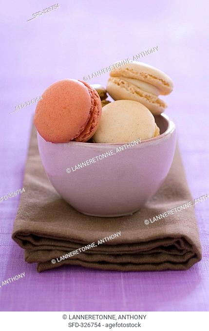 Filled macarons in a bowl