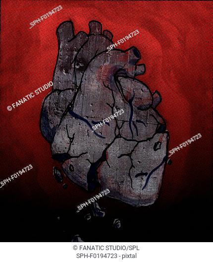 Conceptual illustration of broken human heart