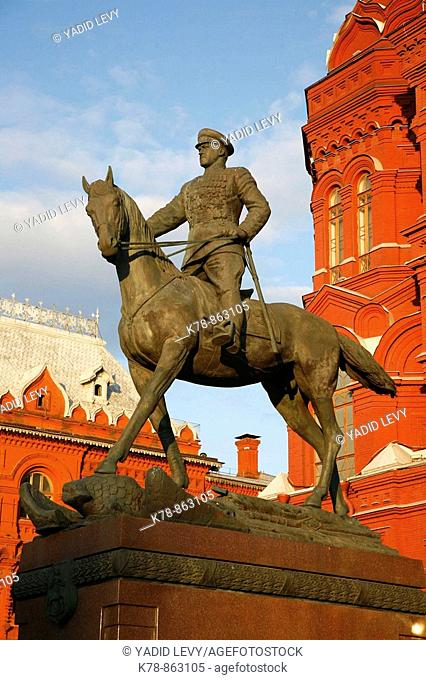 Sep 2008 - The Statue of Marshal Georgy Zhukov by the Historical museum at Manezhnaya Square, Moscow, Russia