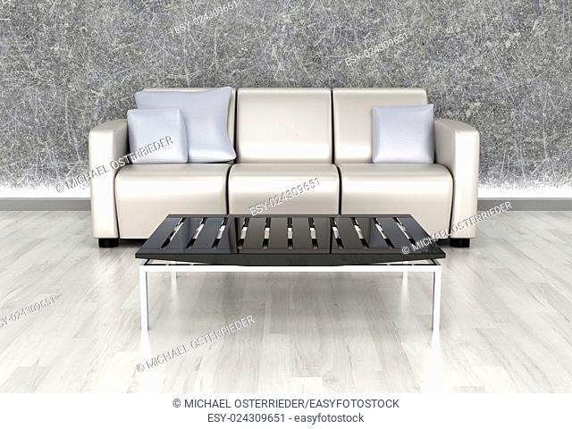 3D rendered Illustration. An living room. Dark concrete style