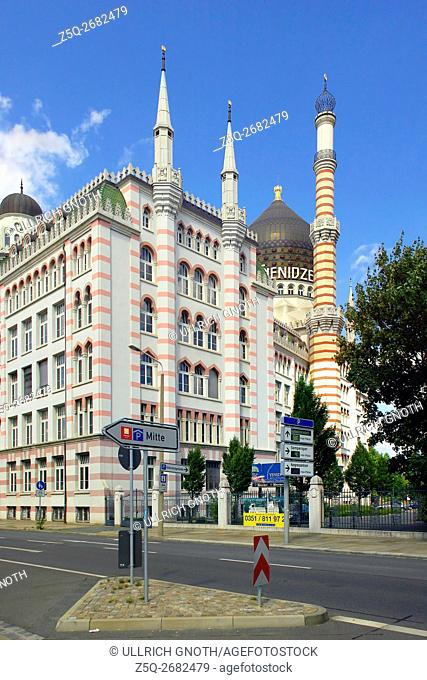 View of the Yenidze Mosque, the former cigarette factory building of the Yenidze Tobacco and Cigarette Factory in Dresden, Saxony, Germany