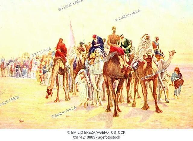 Muslim pilgrimage to Mecca  Antique illustration  1900