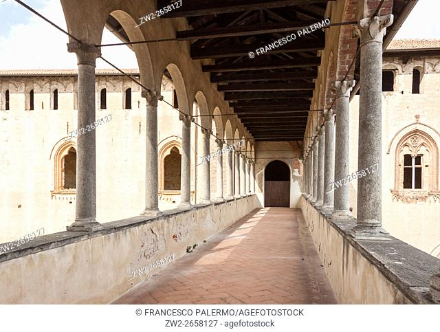 Bridge with medieval porch for access to falconry. Vigevano, Lombardy. Italy