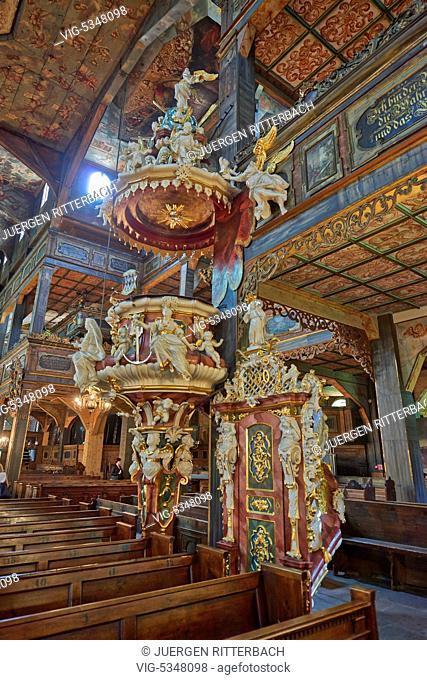 POLAND, SWIDNICA, 26.06.2015, Interior shot of Protestant Church of Peace in Swidnica, Poland - Swidnica, Poland, 26/06/2015