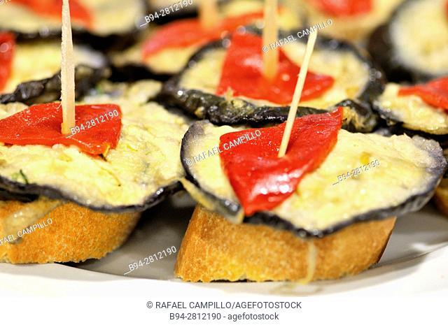 Pintxos or Tapas. Food very Typical in the Basque country. San Sebastián (Donostia), Gipuzkoa, Basque Country, Spain