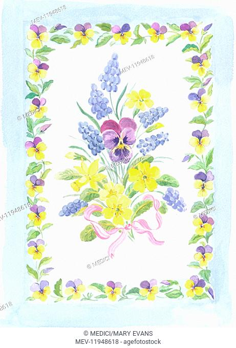 Easter bouquet of spring flowers - primroses, pansy, grape hyacinths - with pink ribbon in a border of pansies