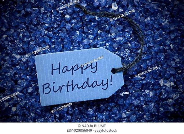 Purple Stones With Label Happy Birthday