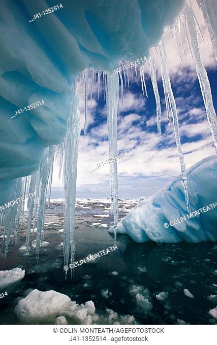 Iceberg with icicles, Penola Strait, Antarctic Peninsula