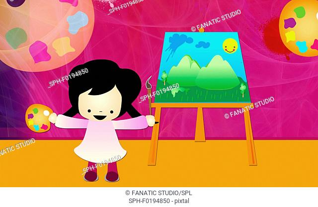 Girl standing in front of an easel, illustration