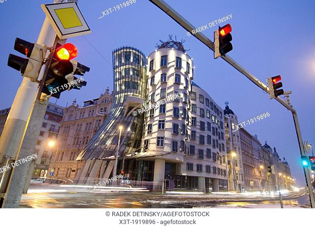 evening winter shot, Dancing House, Prague, Czech Republic Dancing House was designed by Vlado Milunic and Frank Gehry The building was completed in 1996