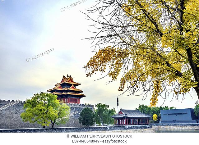 Arrow Watch Tower Yellow Tree Autumn Gugong Forbidden City Moat Canal Plaace Wall Beijing China. Emperor's Palace Built in the 1600s in the Ming Dynasty