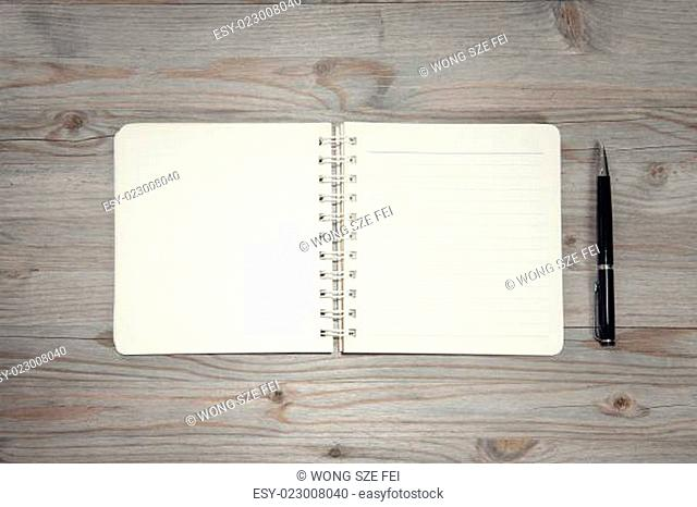Diary on wooden desk