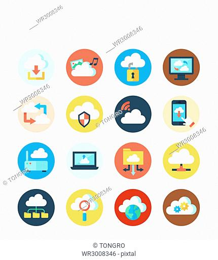 Icon set related to Cloud network