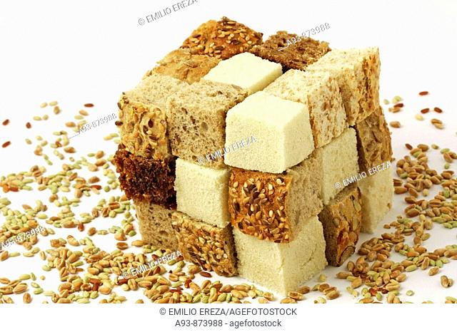 Cube of pieces of bread
