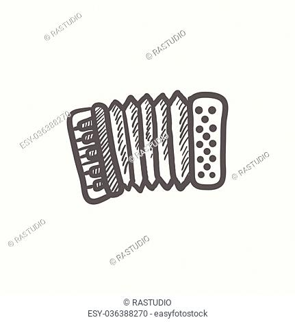 Organ sketch icon for web and mobile. Hand drawn vector dark grey icon on light grey background