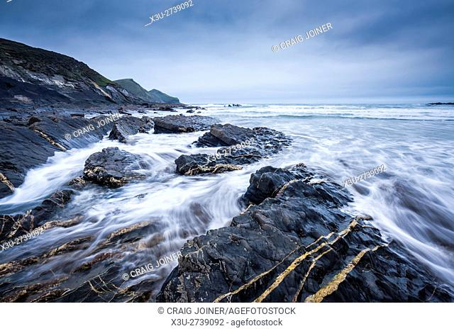 The incoming tide at Crackington Haven on the North Cornwall coastlline. England