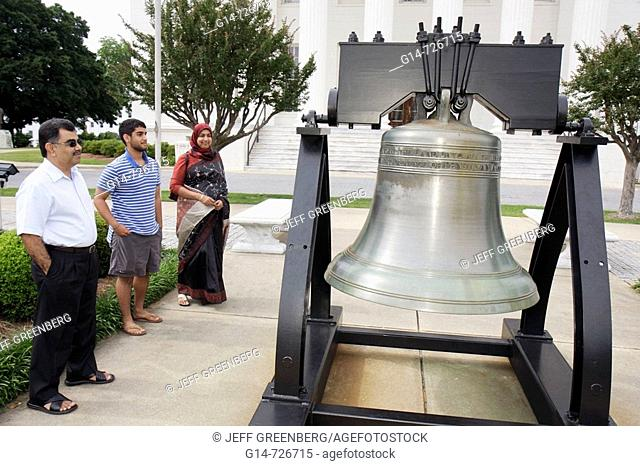 Alabama, Montgomery, State Capitol Building, Liberty Bell replica, Asian, family, Muslim, man, woman, teen, parents, son, government, First Confederate Capitol