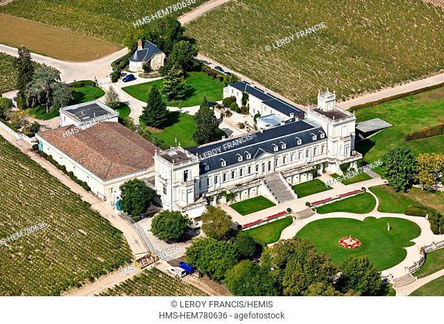 France, Gironde, Saint Julien Beychevelle, Chateau Ducru Beaucaillou, 2nd growth Saint Julien aerial view