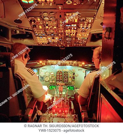 Cockpit of Boeing 757 jet, Icelandair, Iceland