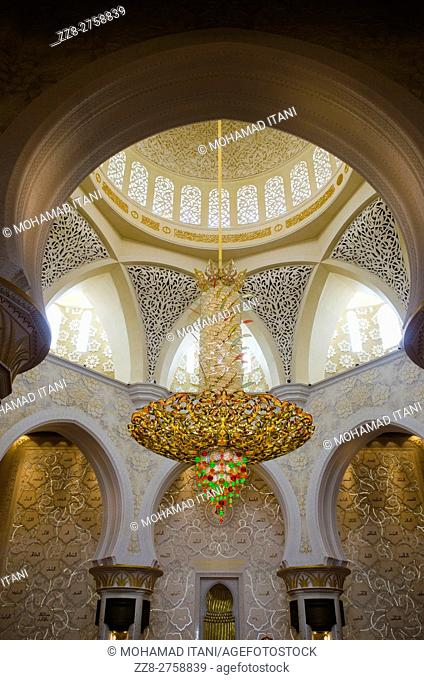 Chandelier inside Sheikh Zayed Grand Mosque building exteriors Abu Dhabi United Arab Emirates